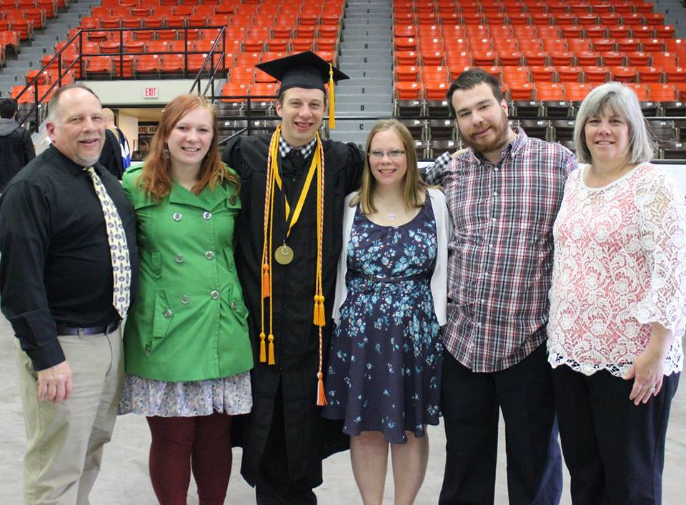 """Mayor Jeff Martin with his family - Emma, Ed, Christine, Charlie and his wife of nearly 30 years, Linda - at his son's graduation from UW-Superior"""